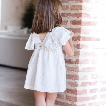 vestido blanco y dorado eve children
